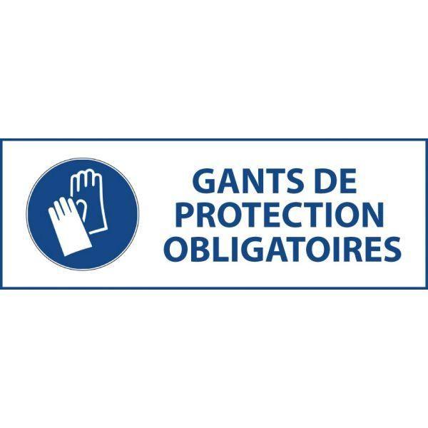 Panneau 'gants de protection obligatoires' m009 autocollant 450x150mm