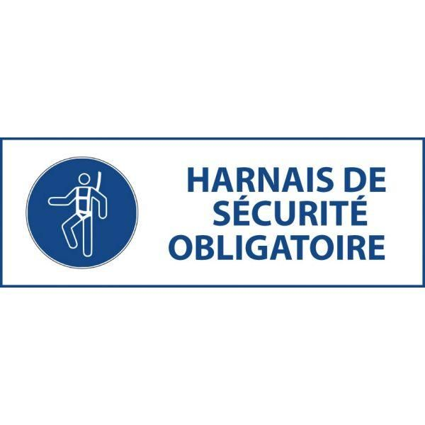 Panneau 'harnais de sécurité obligatoire' m018 pvc 297x105mm