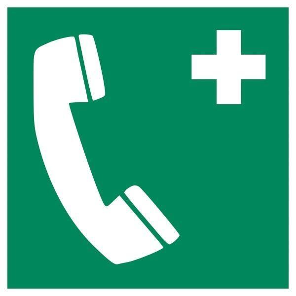 Panneau 'téléphone d'urgence' e004 autocollant 125x125mm