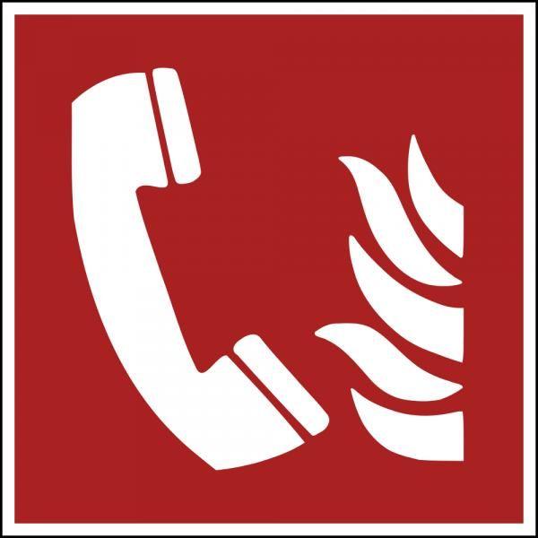 Panneau 'téléphone à utiliser en cas d'incendie' f006 pvc 125x125mm