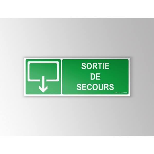Panneaux sortie de secours evacuation rectangle pvc 210x75mm