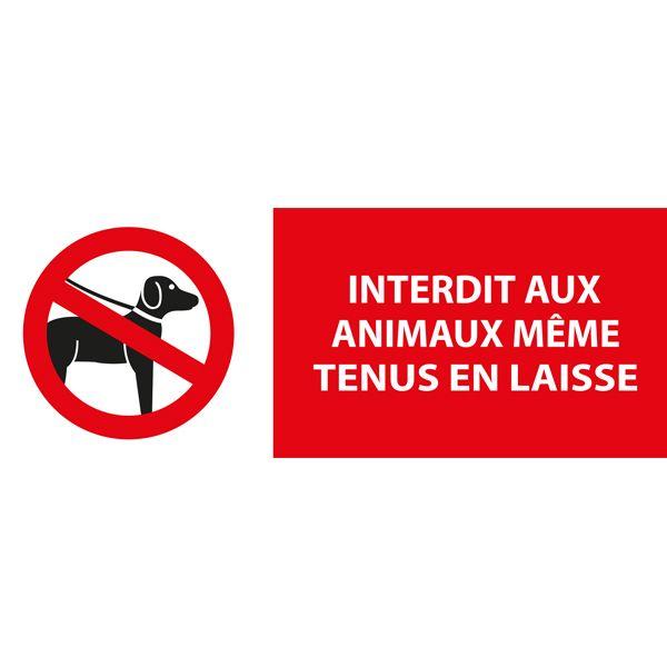 Panneau 'interdit aux animaux même tenus en laisse' autocollant 350x125mm