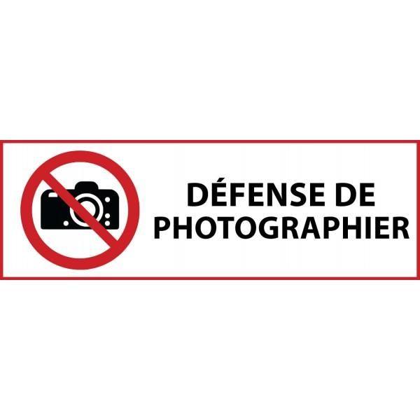 Panneau 'interdiction de photographier' p029 pvc 297x105mm