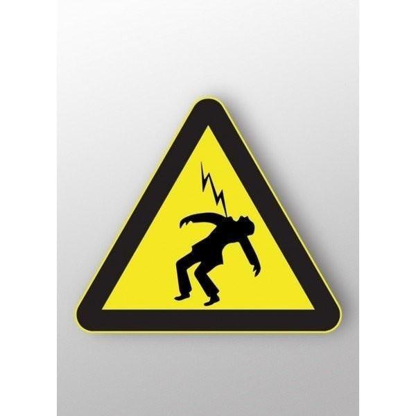 Panneau triangle risque d'electrocution autocollant