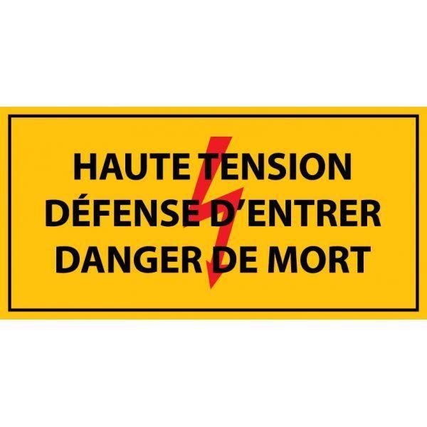 Haute tension , défense d'entrer danger de mort ' autocollant 297x148mm