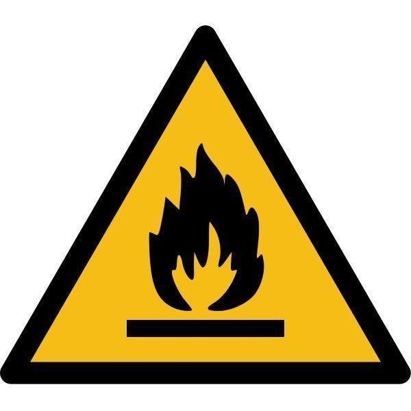 Picto danger'matières inflammables' w021 autocollant -l:50mm