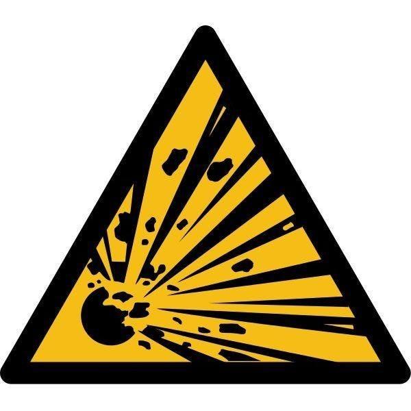 Picto danger'matières explosives' w002 autocollant -l:100mm