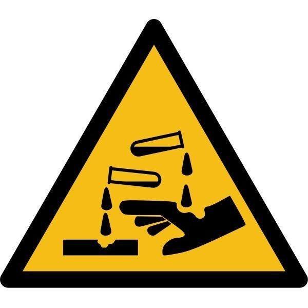 Picto danger'substance corrosive' w023 autocollant -l:100mm