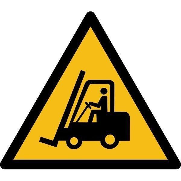 Picto danger'chariots élévateurs et ...' w014 autocollant -l:100mm