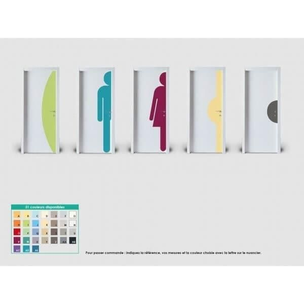 Plaque de porte silhouette demi-lune hauteur 400mm coloris palette : coloris x