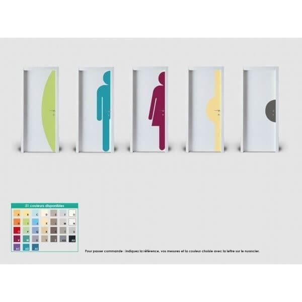 Plaque de porte silhouette demi-lune hauteur 500mm coloris palette : coloris f