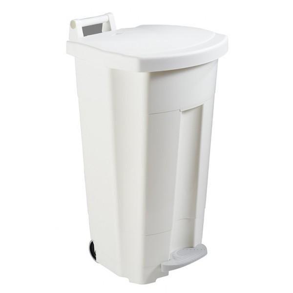 Poubelle alimentaire mobile à pédale blanc contenance : 90 l