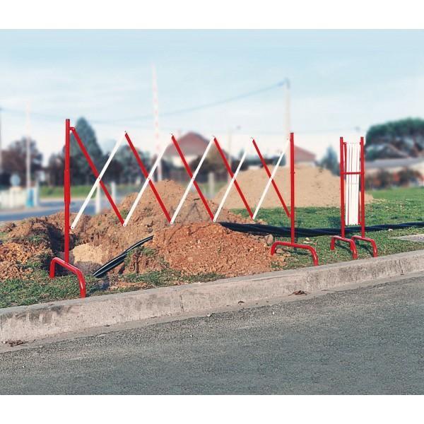 Barrière de chantier accordéon rouge et blanc ou jaune et noir rouge