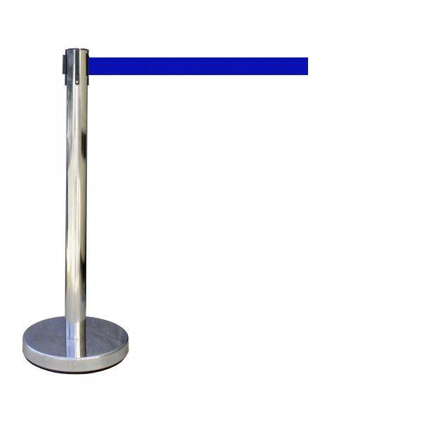 Poteau à sangle couleur du poteau : inox couleur de sangle : bleu