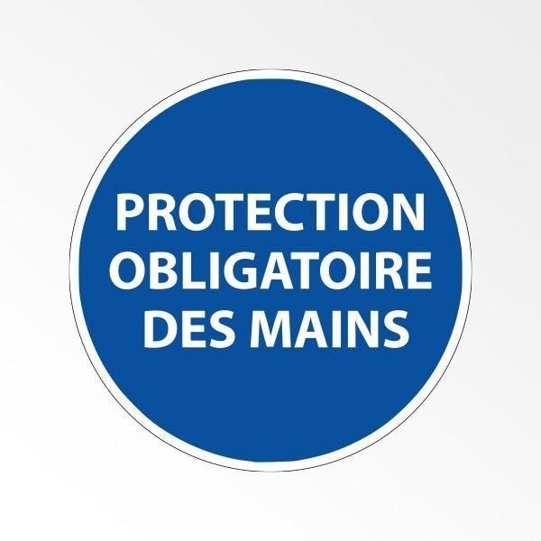 Panneau d'obligation de port d'epi 'protection obligatoire des mains' - 100 mm