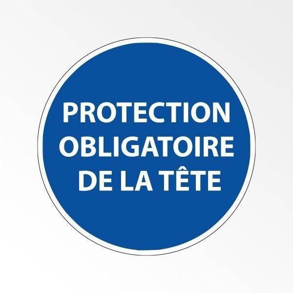 Panneau d'obligation de port d'epi 'protection obligatoire de la tête' - 100 mm