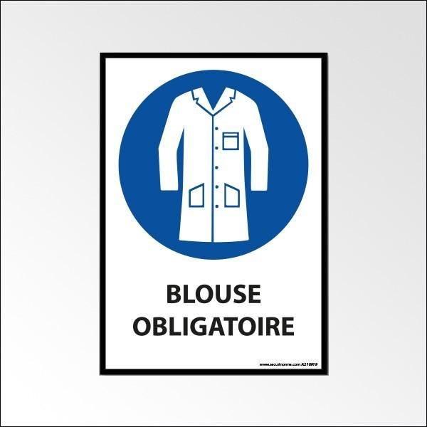 Panneau d'obligation 'port de la blouse obligatoire' a4 - pvc à visser