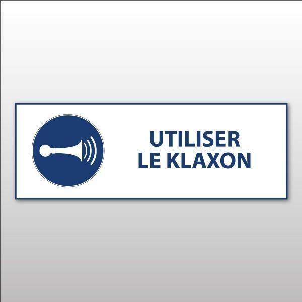 Panneau d'obligation iso 7010 'utiliser le klaxon' m029 pvc - 297 x 105 mm