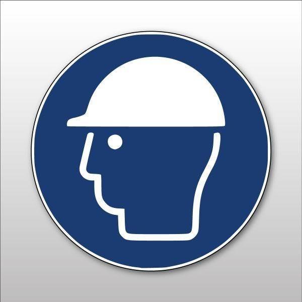 Pictogramme d'obligation 'casque de protection obligatoire' m014 pvc - 100 mm