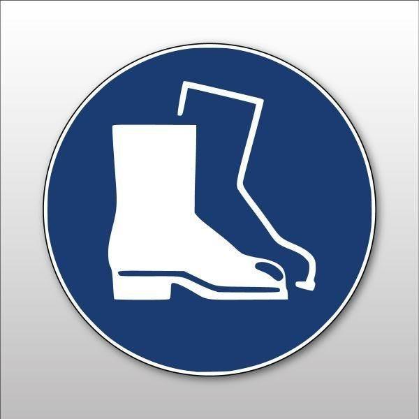 Pictogramme d'obligation 'chaussures de sécurité obligatoires' m008 pvc - 100 mm