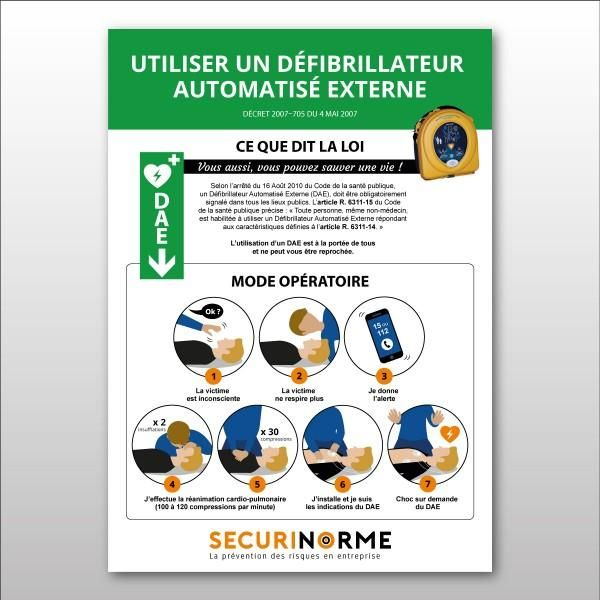 Poster 'conduite d'utilisation d'un dae'