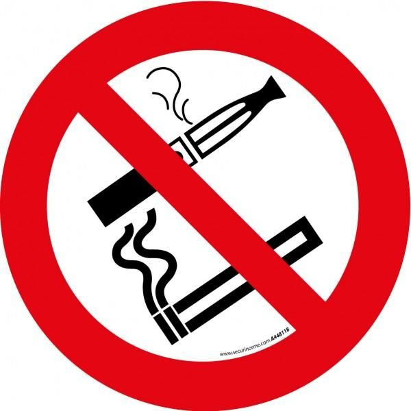 Pictogramme d'interdiction 'interdiction de fumer et vapoter' pvc - 200 mm (photo)