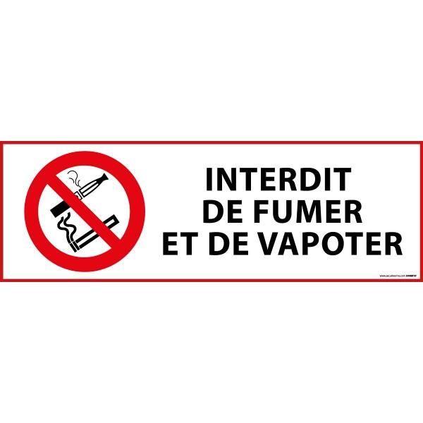 Panneau d'interdiction 'interdiction de fumer et vapoter' pvc - 450 x 150 mm (photo)