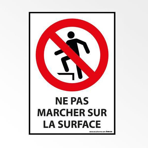 Panneau d'interdiction iso 7010 'ne pas marcher sur la surface' p019 - a5 (photo)