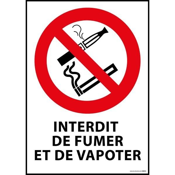Panneau 'interdiction de fumer et vapoter' a4 - pvc à visser (photo)