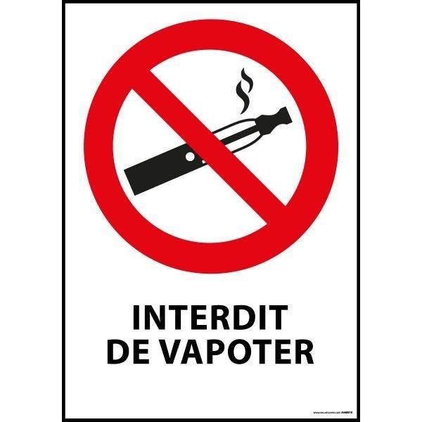 Panneau 'interdiction de vapoter' pvc dos adhésif - a5