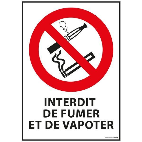 Panneau 'interdiction de fumer et vapoter' a4 - pvc dos adhésif (photo)