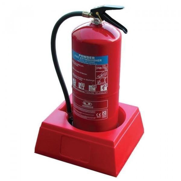 Socle base pour un extincteur rouge (photo)
