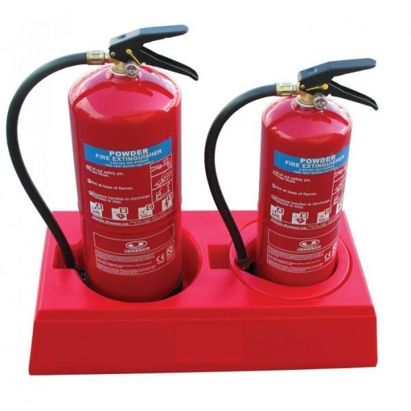Socle base pour 2 extincteurs rouge (photo)