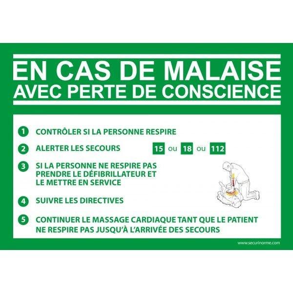 Panneau Consigne Défibrillateur en cas de malaise DAE - PVC - 150 x 210 mm