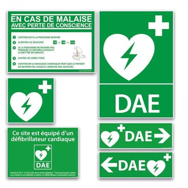 Pack signalétique DAE - 5 Panneaux signalétique DAE - intérieur