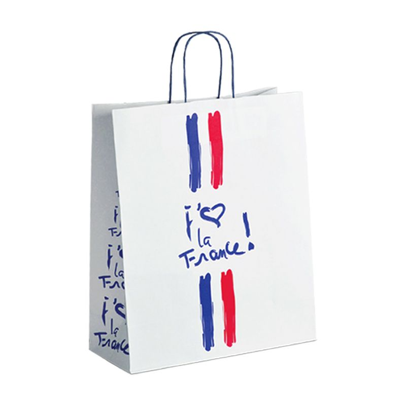 Sac papier boutique j'aime la France Poignées torsadées 35+14x40cm x750 pcs
