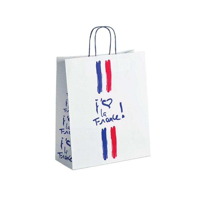 Sac papier boutique j'aime la France Poignées torsadées 23+12x30cm x2500 pcs