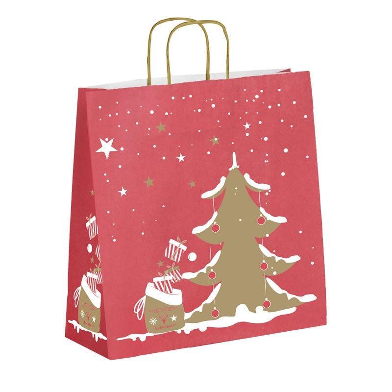 Sac kraft Noël - décor ELIOT poignées torsadées - 45+15x419 cm x450 pcs