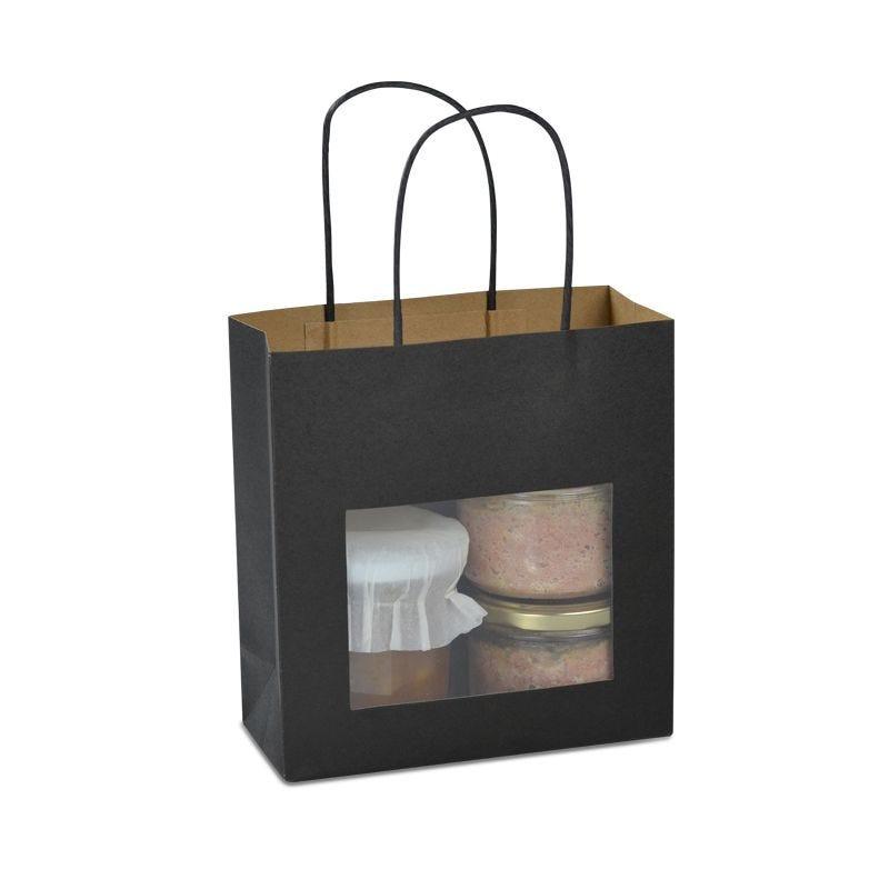 Sac fenêtre boutique kraft noir poignées torsadées 18+8×19cm x1200 pcs