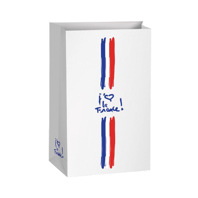 Pochette cadeau bouteille kraft j'aime la France 20+13x34cm x500 pcs