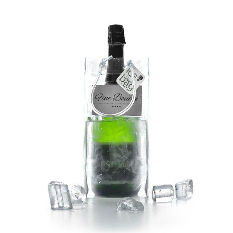 Ice.bag® business transparent - rafraîchisseur 1 bouteille 11+11x25,5cm x60 pcs