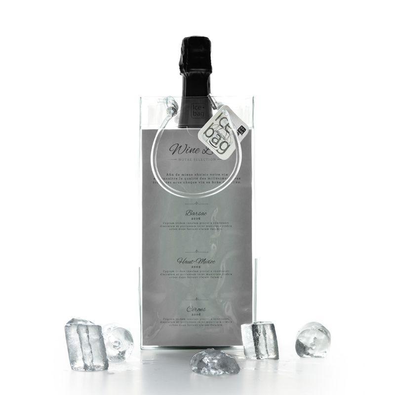 Ice.bag® flyer transparent - rafraîchisseur 1 bouteille 11+11x25,5cm x180 pcs