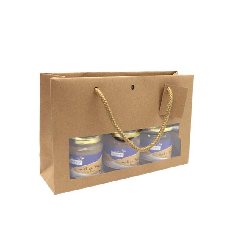 Sac 3 POTS fenêtre kraft brun Poignées cordelières 28+8x18cm x120 pcs