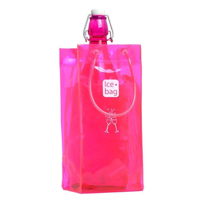 Ice.bag® classic pink - rafraîchisseur 1 bouteille 11+11x25,5cm x24 pcs