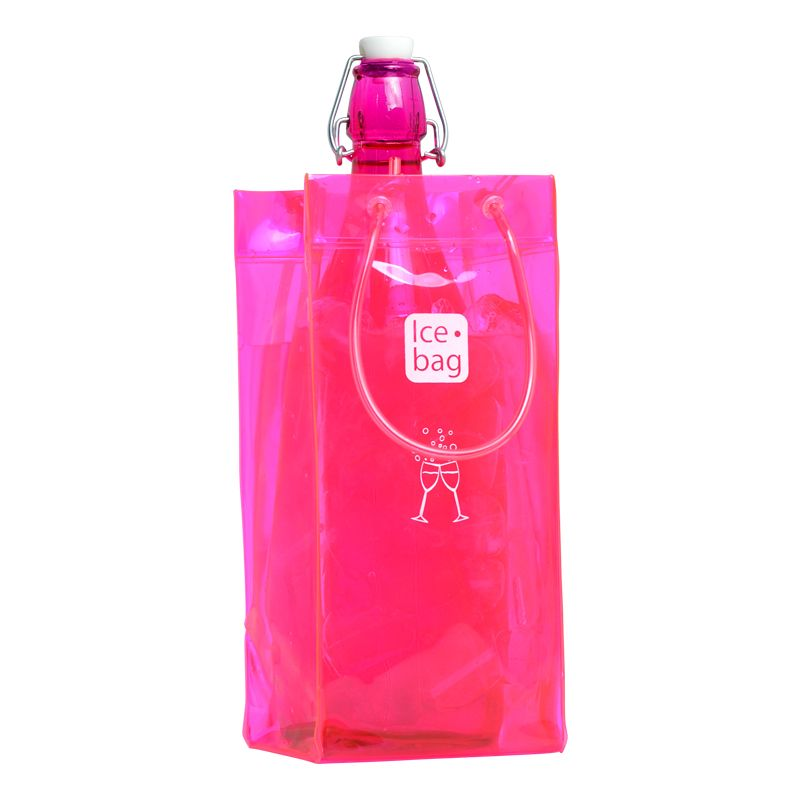 Ice.bag® classic pink - rafraîchisseur 1 bouteille 11+11x25,5cm x120 pcs