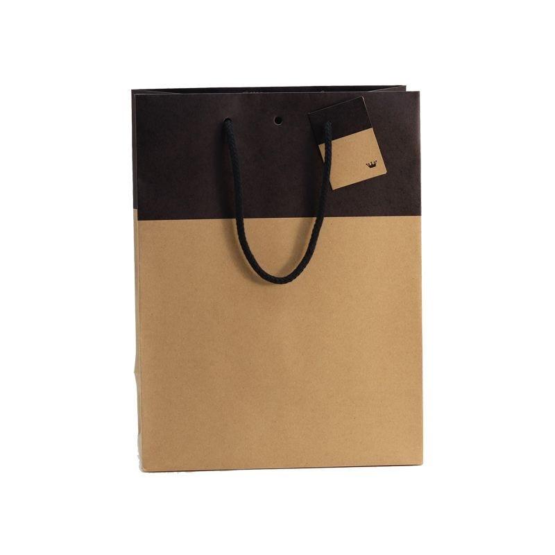 Sac boutique 25+13x33cm bicolore kraft et noir - poignées cordelières - par 150 (photo)