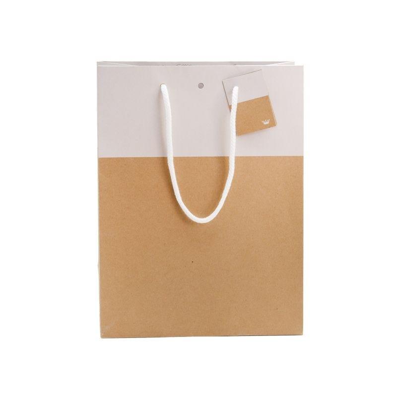 Sac 25+13x33cm bicolore kraft et blanc - poignées cordelières - par 1500 (photo)