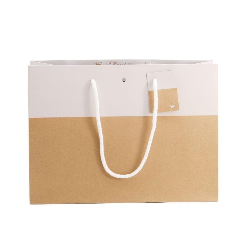 Sac 33+11,5x24cm bicolore kraft et blanc - poignées cordelières - par 500 (photo)