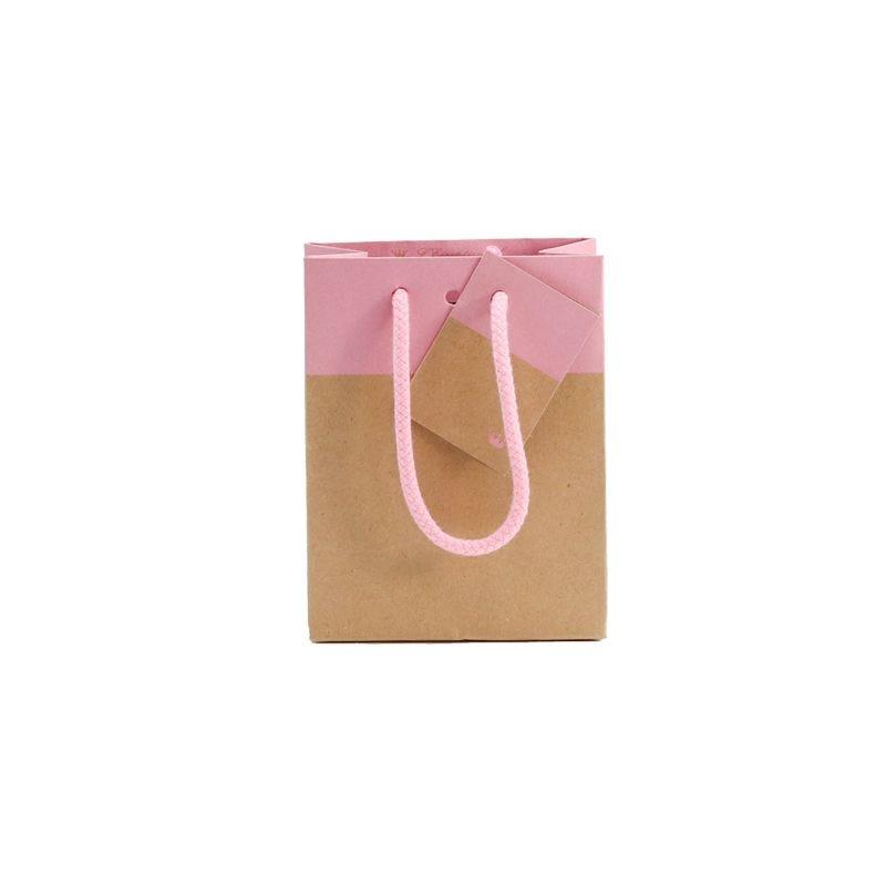 Sac 11,4+6,4x14,6cm bicolore kraft et rose - poignées cordelières - par 400 (photo)