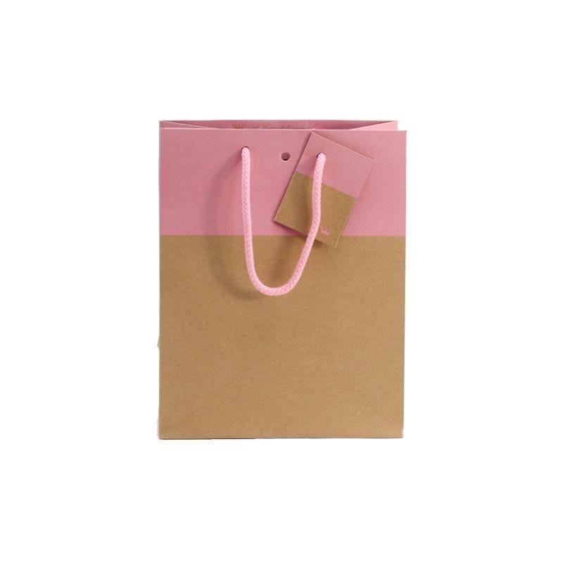 Sac 18+10x22,7cm bicolore kraft et rose - poignées cordelières - par 750 (photo)